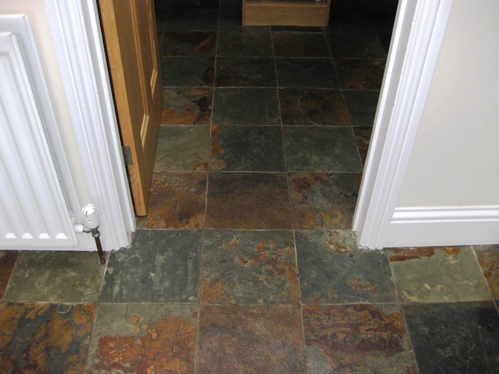 Slate Tiles in Whitley Bay Before Cleaning
