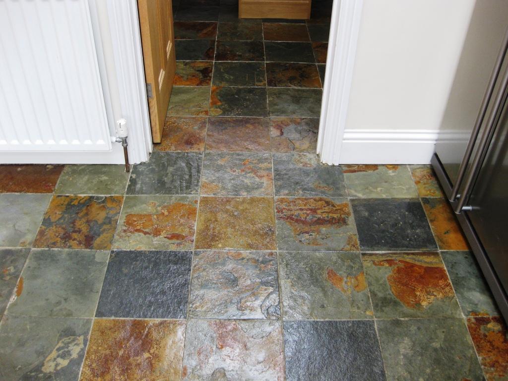 Sealing slate floor tiles