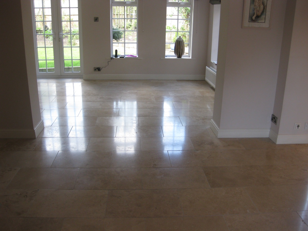 Travertine tiled floor in Durham cleaned by teesside Tile Doctor